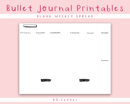 Printable Blank Monthly & Weekly Calendar, Moon Rose Paper Co
