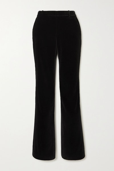 Hayley velvet straight-leg pants