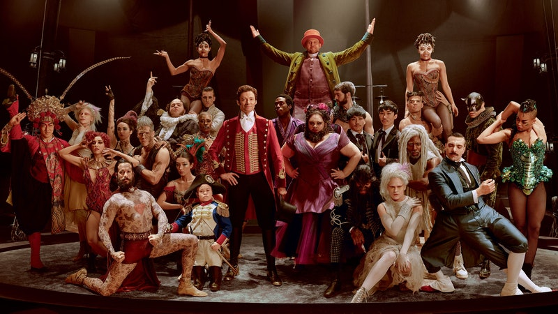 Hugh Jackman as PT Barnum with his circus troupe