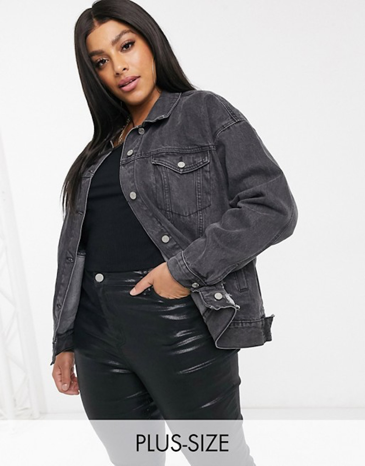 Missguided Plus Oversized Denim Jacket with Rip Detail in Washed Black
