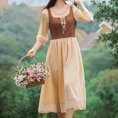 The Cottagecore Lace Up Vintage Dress