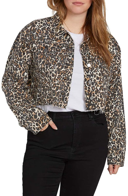 VOLCOM Super Stoney Leopard Print Denim Jacket