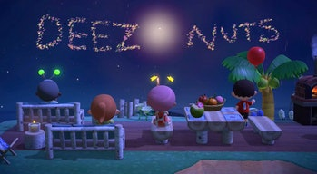 A screenshot of Animal Crossing: New Horizons with fireworks in the sky.