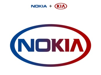 A combination of Nokia and Kia's logos, which simply results in a red and blue Nokia mashup.