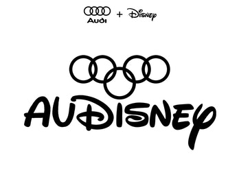 A combination of Audi and Disney's logos, combining the five circles of Audi and the cursive branding of Disney.