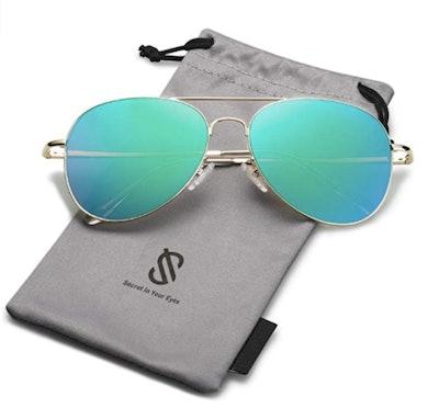 SOJOS Classic Aviator Mirrored Flat Lens Sunglasses