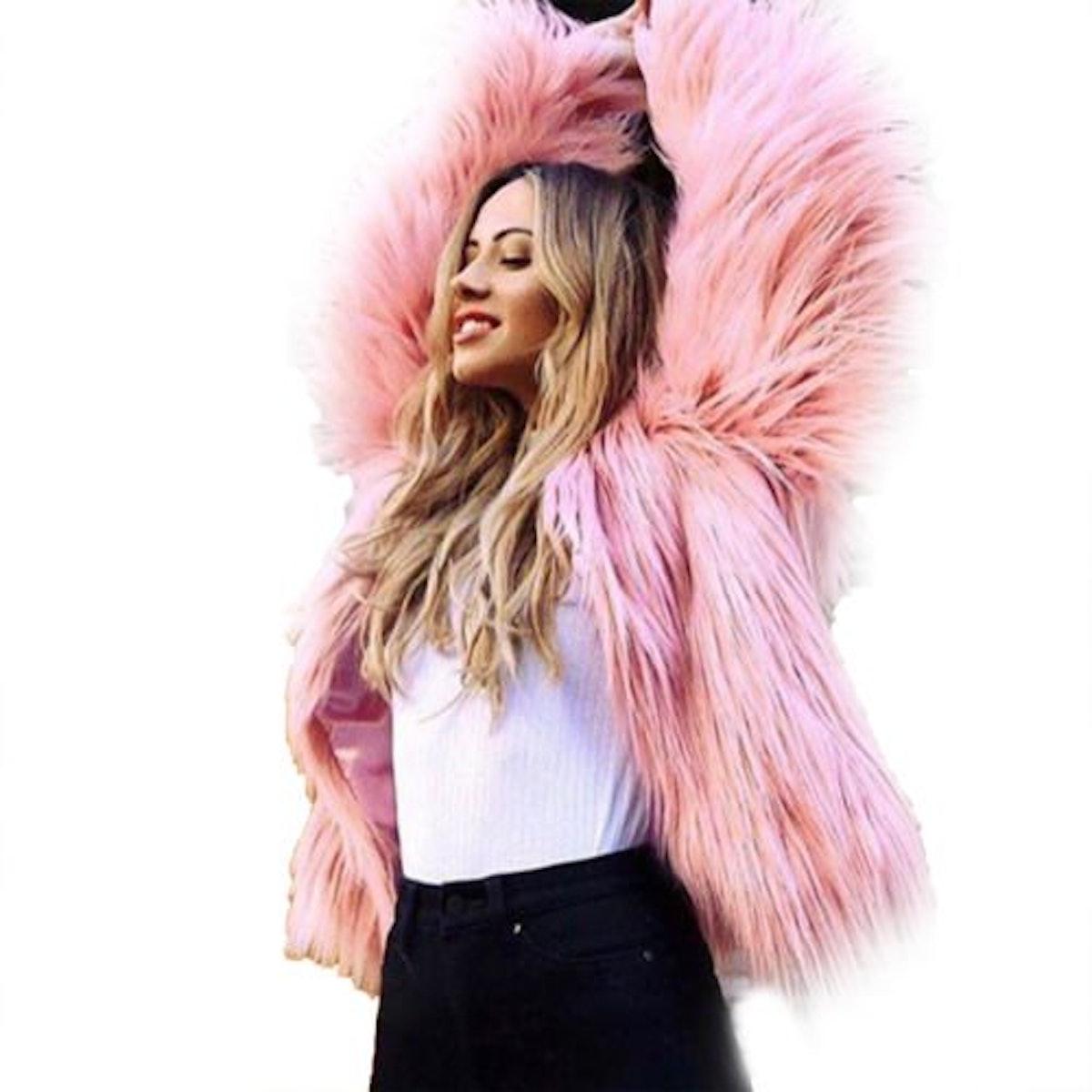 Walmart Womens Plus Size Warm Winter Loose Faux Fur Parka