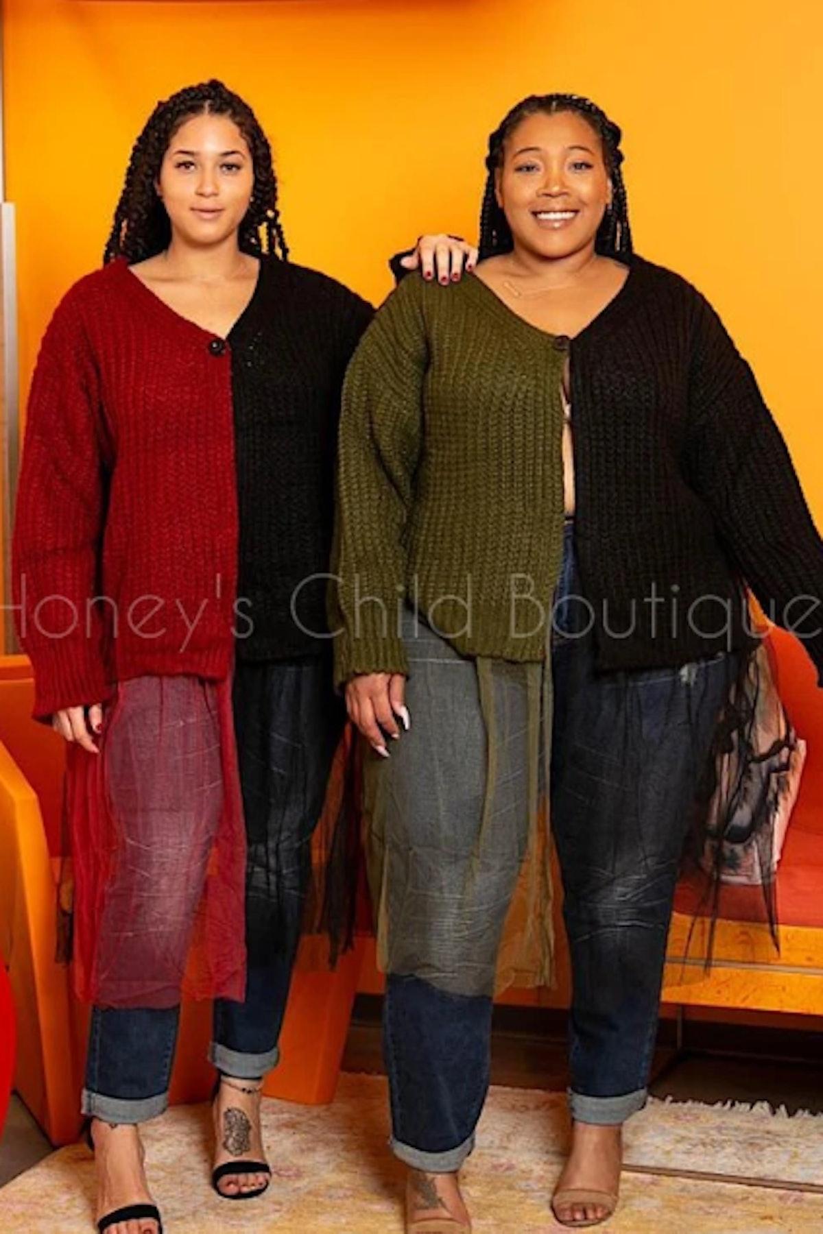 Honey's Child Boutique Side Eye Tulle Hem Cardigan Sweater