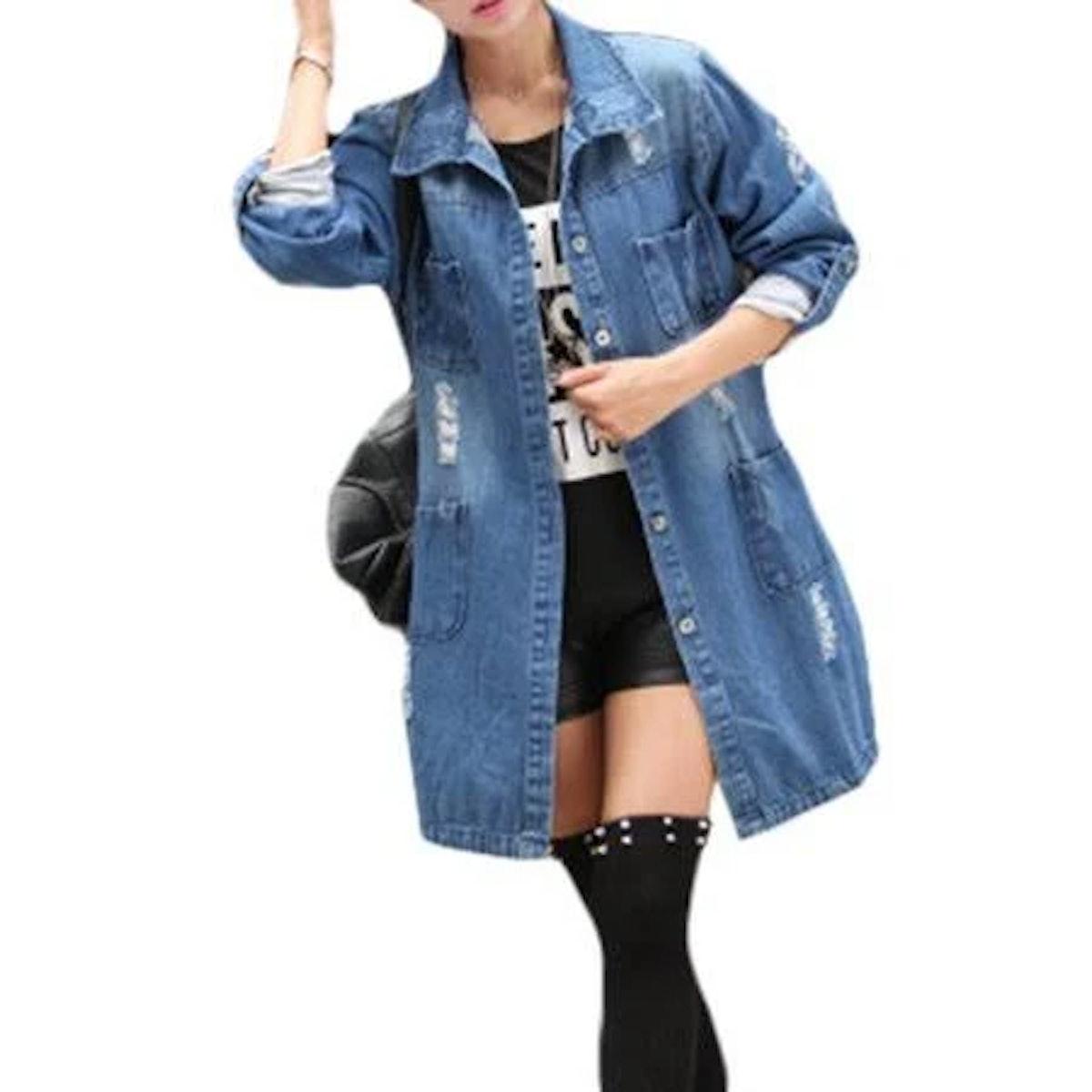 Avens Womens Blue Longline Distressed Denim Jacket