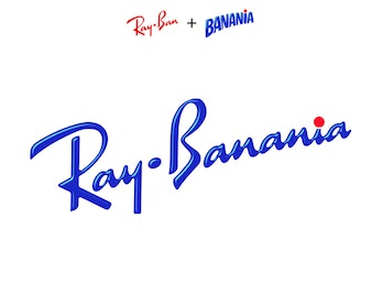 A blue combination of a Ray Ban's and Banania's logos.