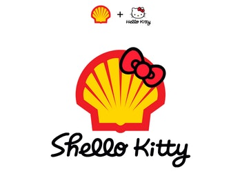 A combination of Hello Kitty and Shell's logos, with a Hello Kitty bow on top of the signature Shell red and yellow shell.