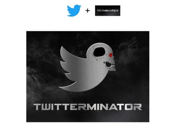 A combination of Twitter's bird and Terminator's logo, depicting a metallic bird with a steel skull.
