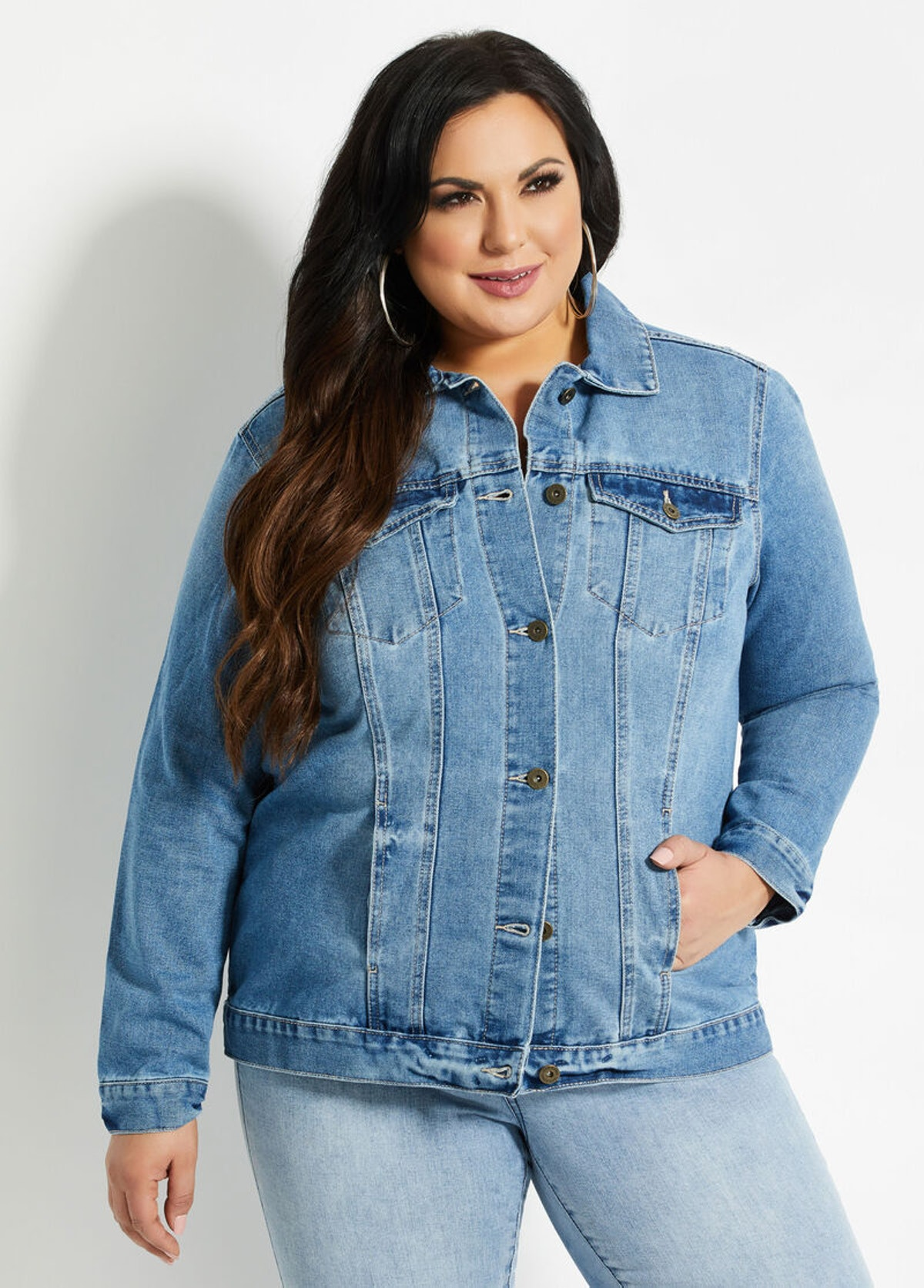 Ashley Stewart Medium Wash Blue Denim Jacket