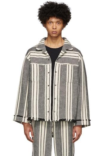 Kuro Off-White Intarsia Striped Jacket