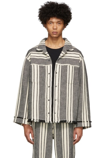 Kuro Off-White Intarsia Striped Jacket