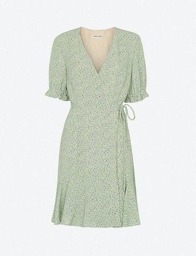 Whistles English Garden floral-print crepe mini wrap dress