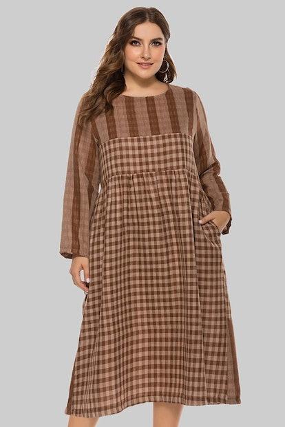 Curve Girl Trendy Checks n Plaid Casual Dress