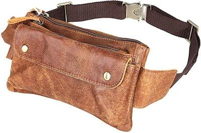 Loyofun Brown Genuine Leather Waist Bag
