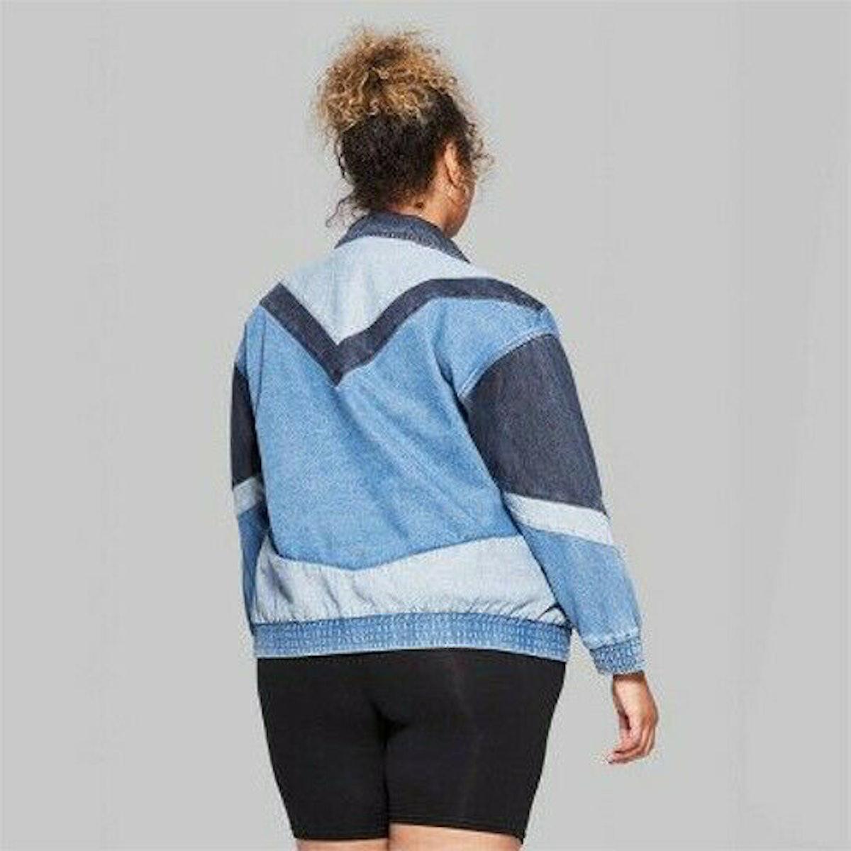 Wild Fable Women's Colorblocked Denim Jean Trucker Jacket