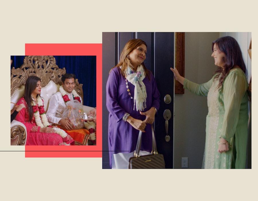 Sima, Rupam, and Akshay on Netflix's Indian Matchmaking.