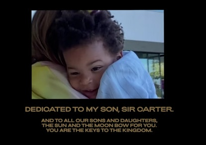 Beyoncé and JAY-Z's son, Sir Carter, makes the smallest appearance at the end of 'Black Is King'.
