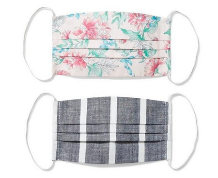 Adult Floral And Striped Mask 2-Pack
