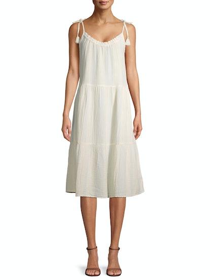 Tiered Tie Sleeve Midi Dress