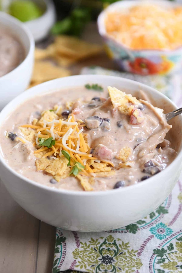 Instant Pot White Chicken Black Bean Chili is one chicken Instant Pot recipe to make.