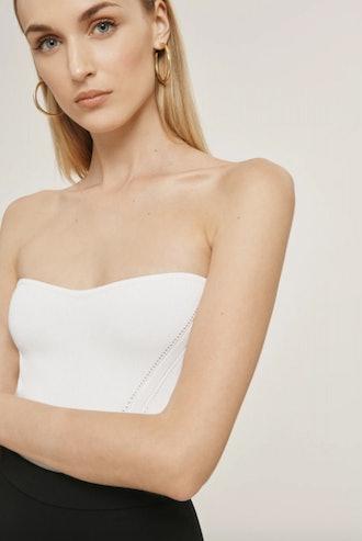 White Stretch Strapless Top