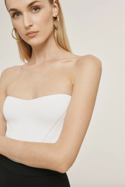 White Stretch Strapless Top