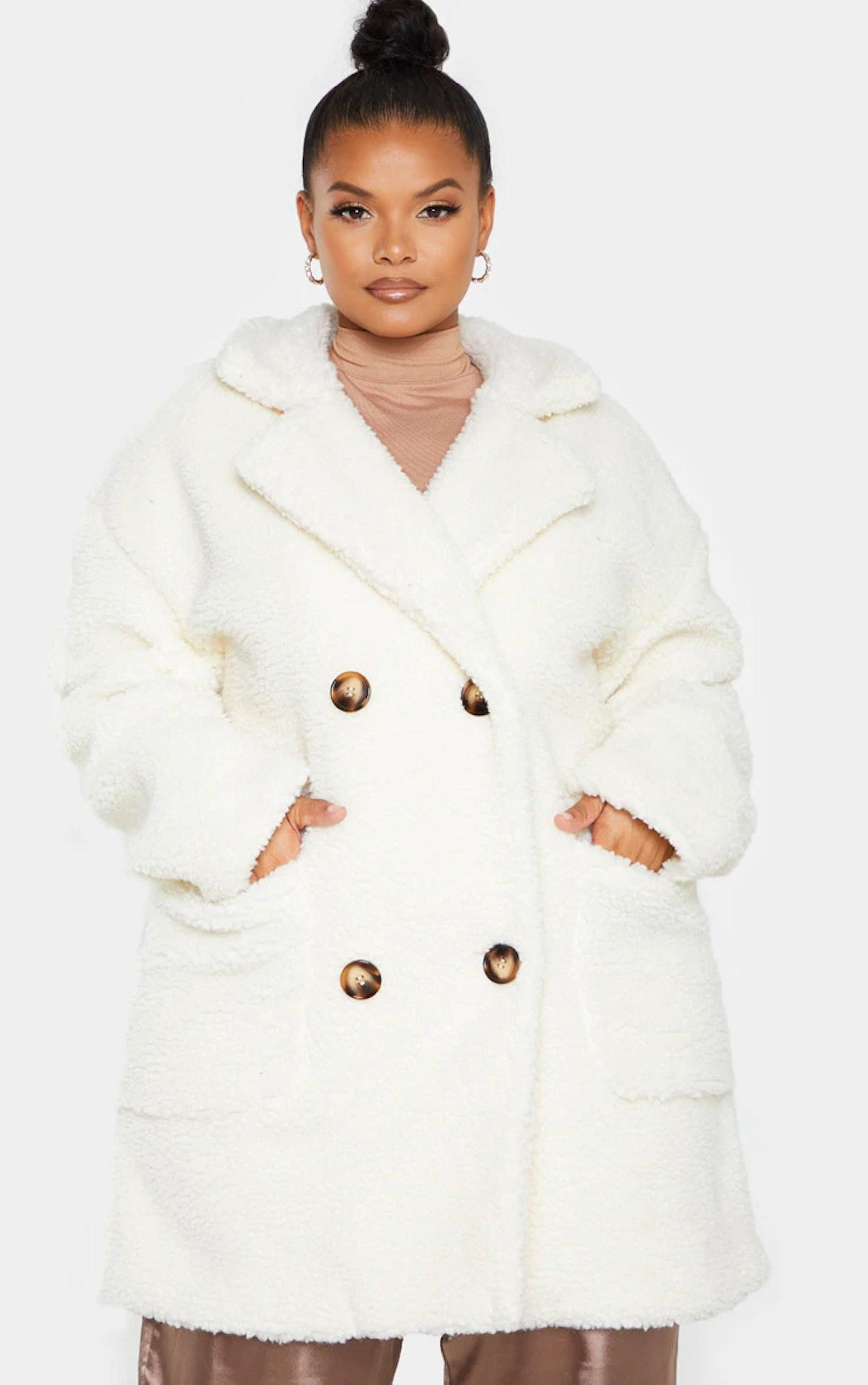 PrettyLittleThing Plus Cream Borg Midi Coat