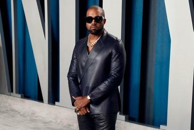 Kanye West attends the 2020 Vanity Fair Oscar Party at Wallis Annenberg Center for the Performing Arts on February 09, 2020 in Beverly Hills, California.