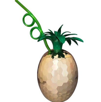 Gold Pineapple Cup with Krazy Straw