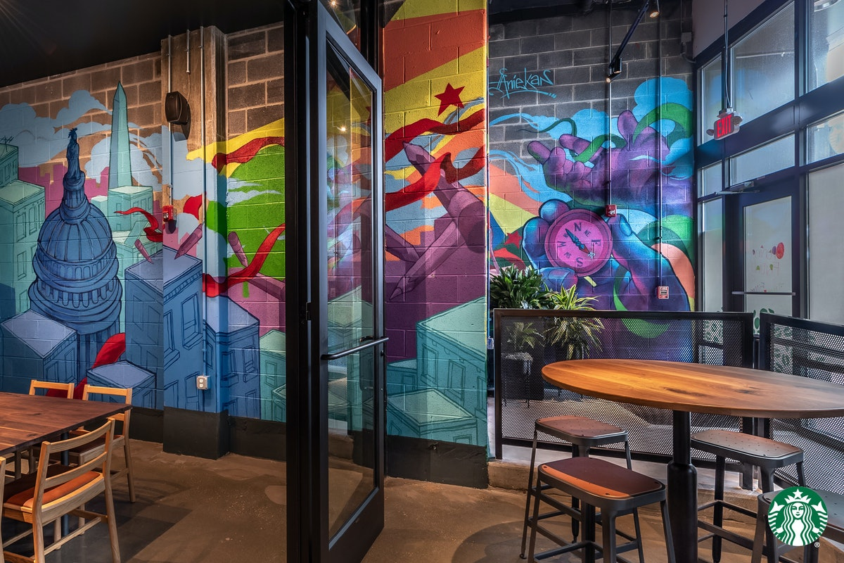 Starbucks Zoom backgrounds pay homage to the work of local artists, like in this Washington D.C. sto...