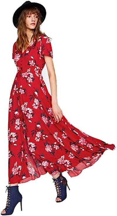 Milumia Floral Print Button-Up Maxi Dress