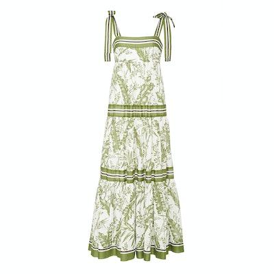Zimmermann Empire Ribbon-Trimmed Printed Cotton Maxi Dress