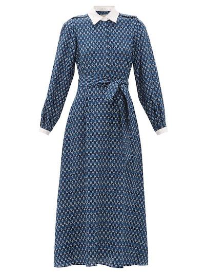 Beulah Shalini Floral-Print Silk Midi Dress