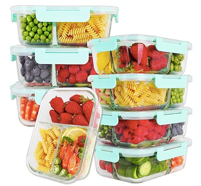 8-Pack Glass Meal Prep Containers