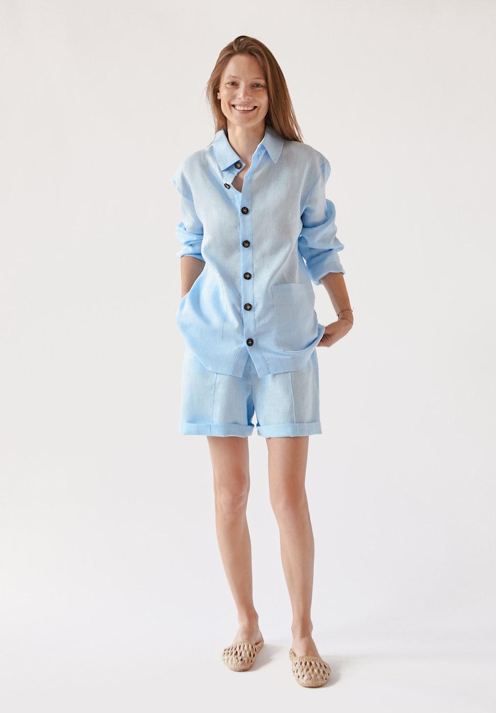 Linen Unisex Pajamas Set With Shorts