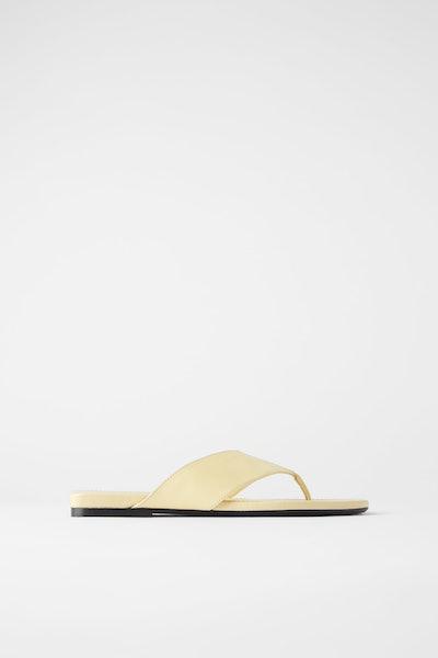 Wide Strap Leather Slide Sandals