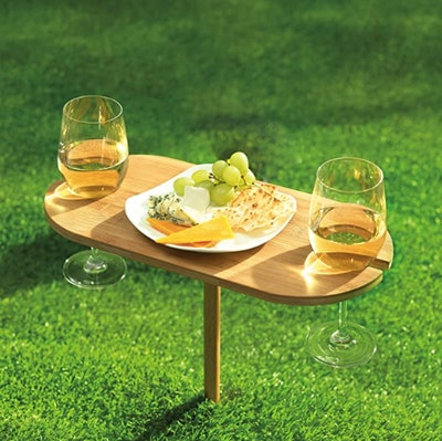 Outdoor Wine Holder Bamboo Table