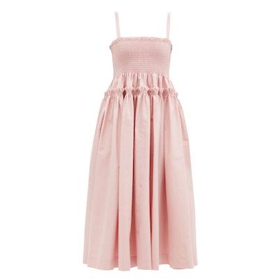 Molly Goddard Marlene Shirred Cotton-Scuba Midi Dress