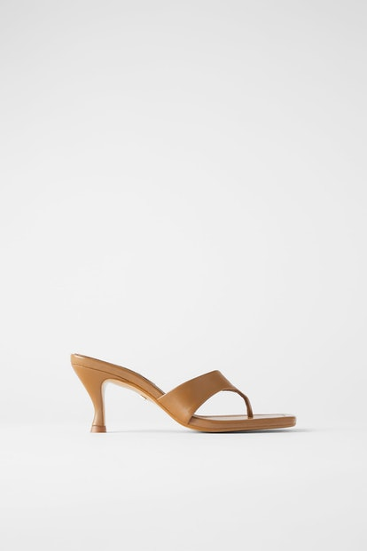 Heeled Leather Square Toe Sandals