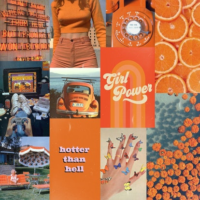 VSCO Wall Collage Kit Summer Vibes Orange Aesthetic (Set of 35)