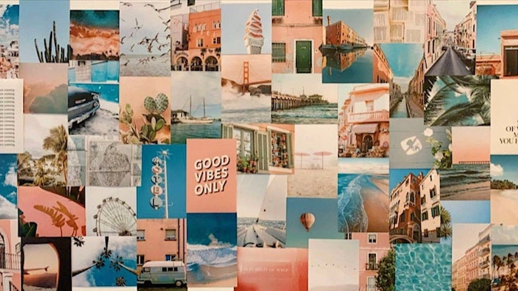 A collage of summer photos are arranged on a bedroom wall.