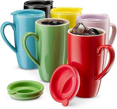 MITBAK Large Ceramic Mugs With Lids (6-Pack)