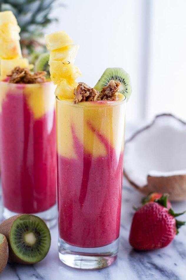 A Tropical Fruit Breakfast Smoothie is a delightful summer breakfast idea.