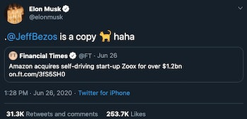 Elon Musk shares his thoughts on Amazon's purchase of Zoox.