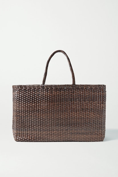 Max Large Woven Leather Tote