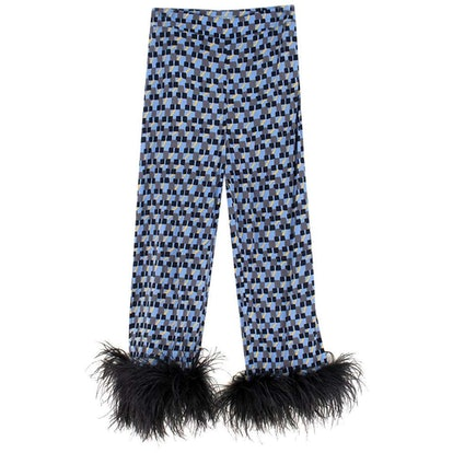 Feather-Trimmed Printed Crepe de Chine Pants